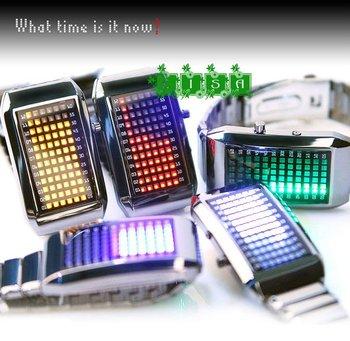 Free shipping 72 LED Light Sport Style Digital Stainless Steel Luxury wristwatch watch for Lady men boy