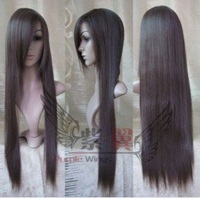 New Long Dark Brown Cosplay Party Straight Wig Free shipping