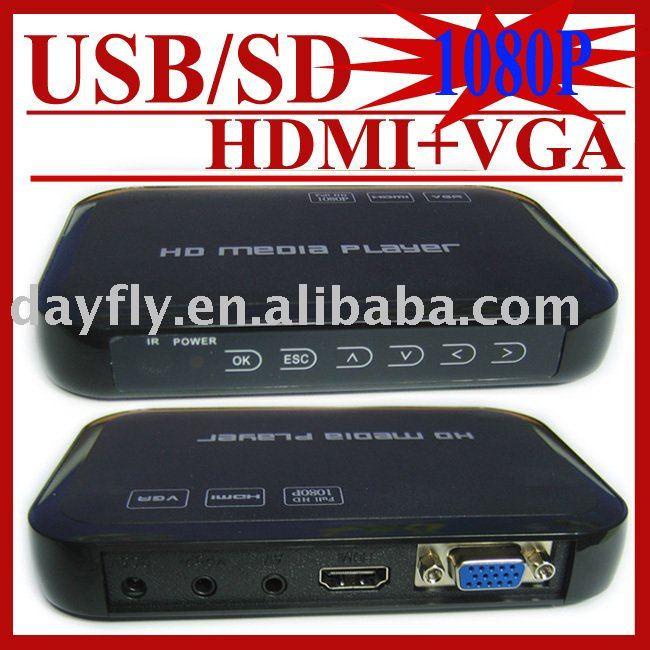 Gift&Free Shipping!USB Full HD 1080P HDD Media Player HDMI VGA MKV H.264 SD,Retail,Sample,Drop Shipping(Hong Kong)