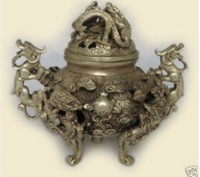 Carved Tibet Silver Nine Dragon statue Censer 100% free shipping