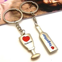 Christmas Promotion!!! FREE SHIPPING 1 PAIR (2 PCS) Metal Keyring Key Chain Metal Key Holder Key Ring Keychain for COUPLES