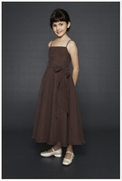 A-line Spaghetti Strap Ankle-Length Satin Flower girls Dress