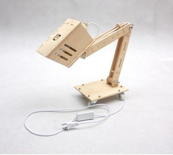 DIY assembles wooden desk lamp, table lamp.2styles,for geek, MOQ=1,free shipping