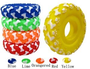 """Free shipping&New Dog/Cat Toy  Circle shape with Sounds  4.5"""" length * 1.3"""" width * Green PVC [50pcs/lot]"""