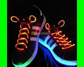50pc/lot 25 pairs LED LIGHT UP SHOELACES DISCO FLASH LITE GLOW STICK NEON Free Shipping