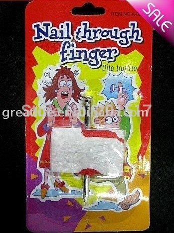[wholesale:60pcs/lot] Free shipping by china post air mail Bloody Nail Through Finger Gag Gift Prank Joke NEW(Hong Kong)