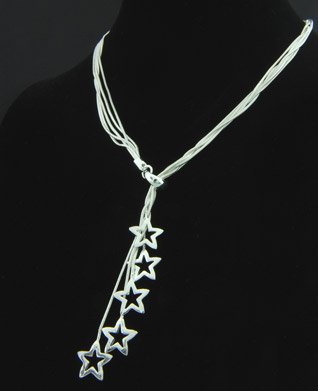 Free &amp; Fast Shipping Brand New Cute Jewelry 5 Little Star Pendent Lady Necklace n-23(China (Mainland))