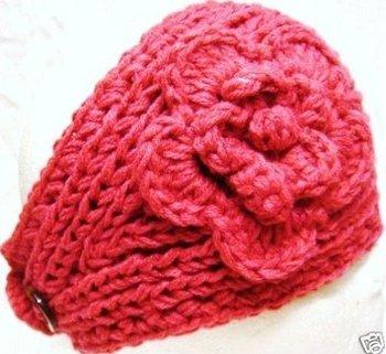 Handmade Knit Flower Crochet Headwrap Headband women headwear winter headband ear band wholesale free shipping via ems