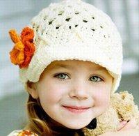 Handmade children's Crochet Hats with flowers knitted Caps Beanie children's flower hat kids hats