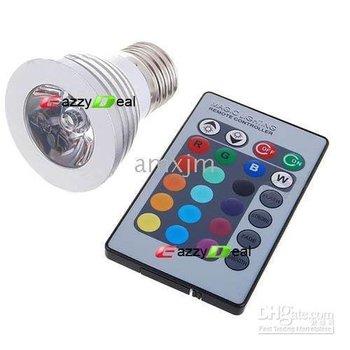 Multicolored IR Remote Control Light Bulb (110~220V AC)[1820014]- E27 3W RGB