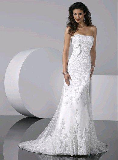 Jsm1235 all white one piece strapless slim line crystal for Slim white wedding dresses