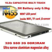 Free shiping  10inch capacitive muilti touch mini PC win7 ,N455 DDR3,WIFI/3G,G-sensor,1.3M camera