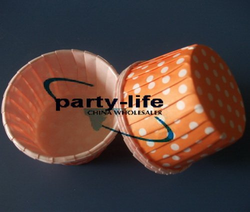 6000pcs Orange Round MUFFIN Paper Cake Cup Cake case with White Dot ,free shipping(China (Mainland))