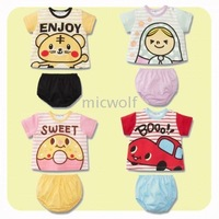 Free Shipping 12 sets/lot Cotton Baby T Shirts and Short Pants Baby Clothing Sets Infant Pants