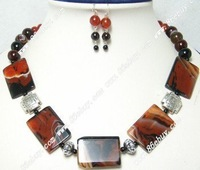 "Free shipping wholesale genuine 19"" agate necklace earring set"