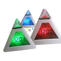 EMS Free shipping 12pcs/lot led 7 color changing triangle pyramid music alarm clock