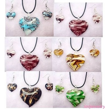 wholesale charming mix colored heart Amazon tone glass jewelry earrings necklace sets Free Shipping
