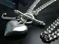 wholesale 925 Silver J with heart T-O Toggle necklace Free shipping 925 sterling silver chain necklace,FASHION JEWELRY N1