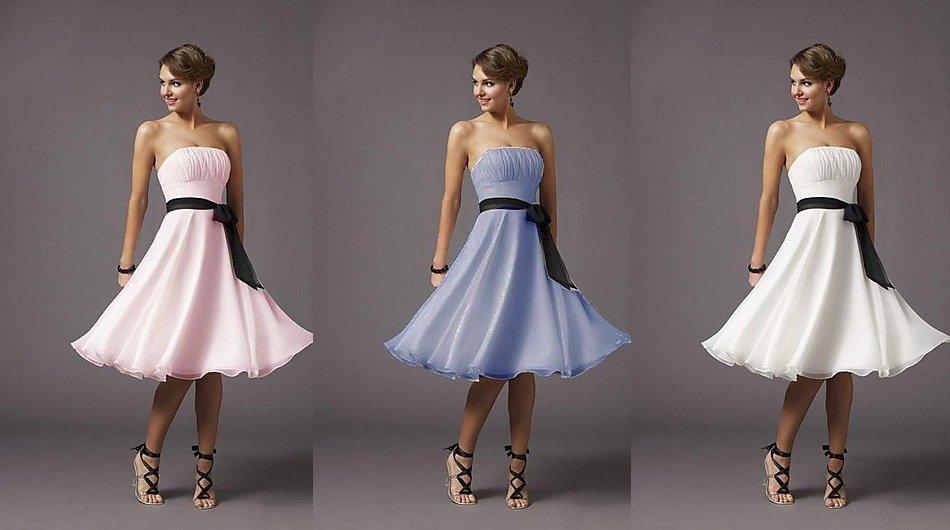 Free Shipping Gorgeous Strapless Knee Length Chiffon Party Dress Short(China (Mainland))