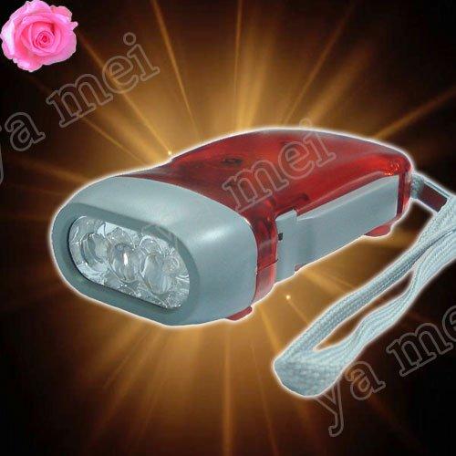 fee 10pcs/lot Brand new Hand Press Powered Wind Crank3 LED Flashlight Torch(China (Mainland))