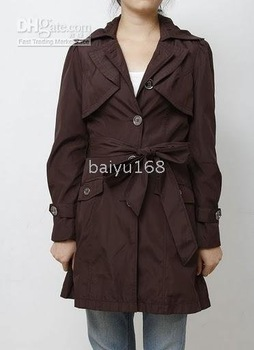 New Women's Trenchcoat With Pleated Skirt Check Coat Jacket Coffee Size XL