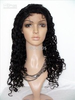 "wig IN STOCK Long Remy Full Lace Wigs Deep Wave 20"" color #1B OFF Black 100% Indian Human hair lace"