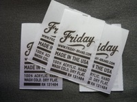 heat transfer care labels, size 2.5cmx4cm,straight cut, one color
