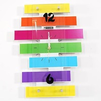 Free shipping wholesale and retail/ household deco colorful horizontal striping wall clock/fashion wall clock/ home decoration