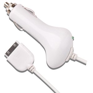 Free shipping+50pcs/lot,white color,brand new Car charger for Ipad iphone 3G 3GS 4G Ipod touch nano classic video mini(China (Mainland))
