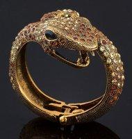 Free shipping Mix-order 120 pc/lot Black Crystal w/ Gold rhinestone Gold Mouth-gaping an egyptian snake bangle bracelet