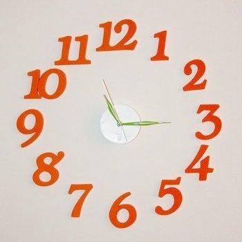 DIY wall clock / clock / decorative clock / digital clock / orange