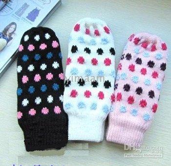 Korean cute love half finger gloves warm gloves, mittens plush gloves,girls winter wool gloves