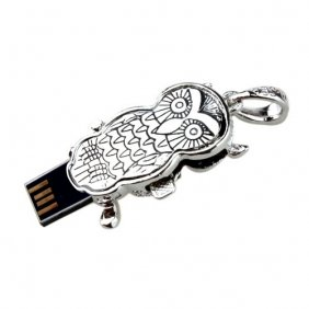 Best sell free shipping beautiful 2GB Portable Owl Flash Drive (Silver)(China (Mainland))