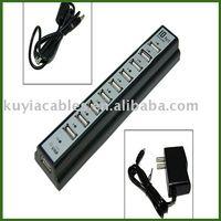 Free shipping 5PCS/lot 10 Port 480MBps Hi-Speed USB 2.0 HUB W/Power Adapter black