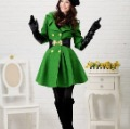 2011  New Lady women's luxury green wool coat,outerwear,jacket+Free Shipping