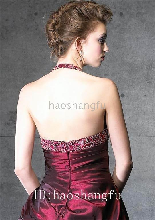Wine Red Taffeta Organza Embroidery Bridal Wedding Dress Wedding Gown(China (Mainland))