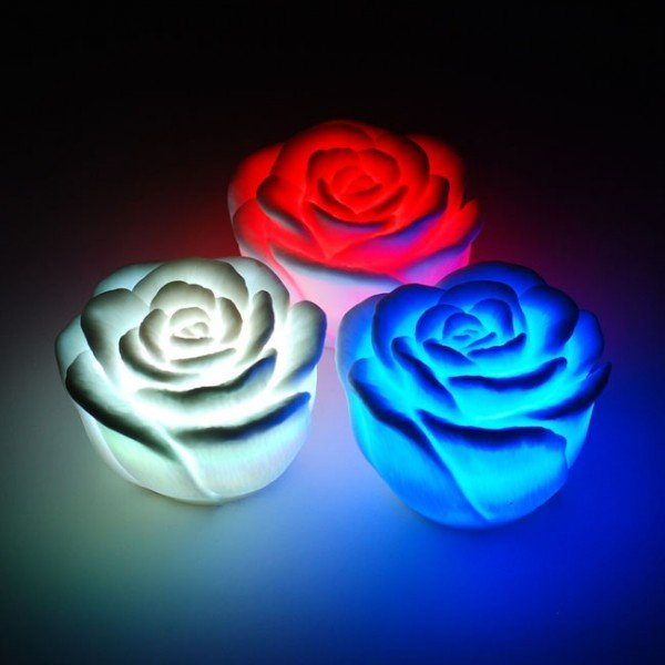 Wholesale -20pcs/lot Lovely Changing Color Floating Rose Flower LED Candle lights for wedding,party,New year gift,Christmas gif(China (Mainland))
