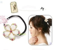 Free shipping 50pcs/lot Synthetic Diamonds redbud Flower hair ring girl lady Headbands wholesale