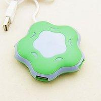 Free shipping 10pcs/lot high speed color changing flower shape 4 port USB hub