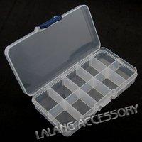 12x Plastic Boxes 10-checks Jewelry Beads Display 13.4*7.2*2.4cm 120309