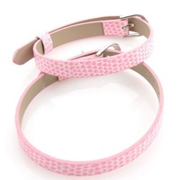 30xPink Flecky 7mm Band Buckle Imitational Leather Bracelet Charms Bracelet 160151
