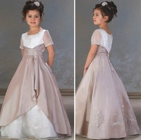 Free Shipping Flower Girl dress with Button Custom size/color