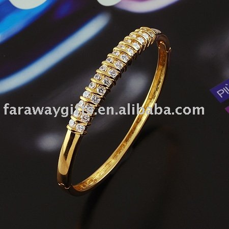 18K GP double rows CZ zircon bangle(China (Mainland))