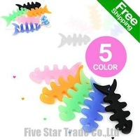 Free Shipping/Accept Credit Card/30pcs New Novelty Assorted Colors Fishbone Silicone headphone earphone cable winder