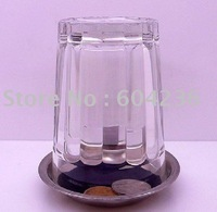 Free shipping,Magic coin get into glass magic trick props 3pcs/lot,for magic toy wholesale