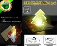 Christmas Tree Mini LED Pocket Card Light, Keypress Lamp As Xmas Gift & Free Shipping