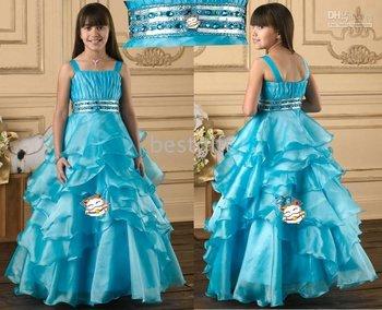 Halter Style blue Flower Girl Pageant Wedding Dress Size2-10 w33