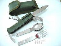 free shipping folding spoon fork knife multi tool camping tool