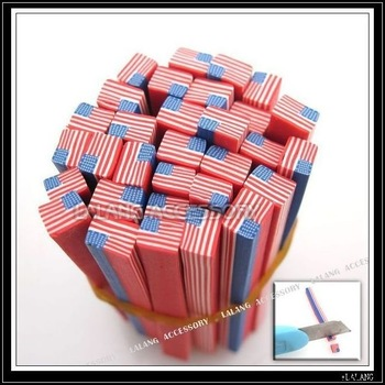Free EMS!!! 430pcs/Lot USA Flag Pattern Polymer Clay Sticks Fit Nail Art Decoration 250030