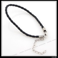 30x New Black Leather Plaited Bracelet Cord 130100